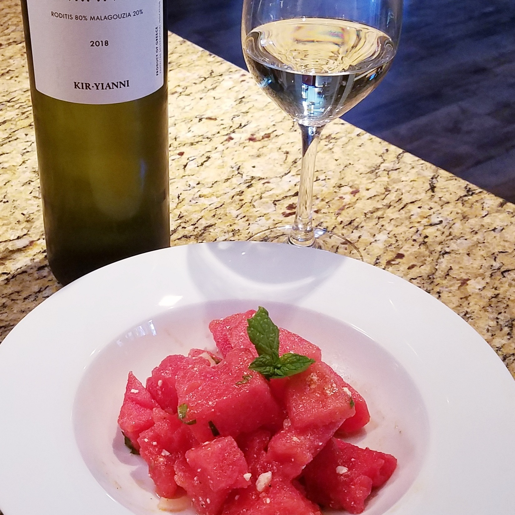 Watermelon Salad with Feta and Mint paired with Paranga Roditis and Malagouzia White Blend