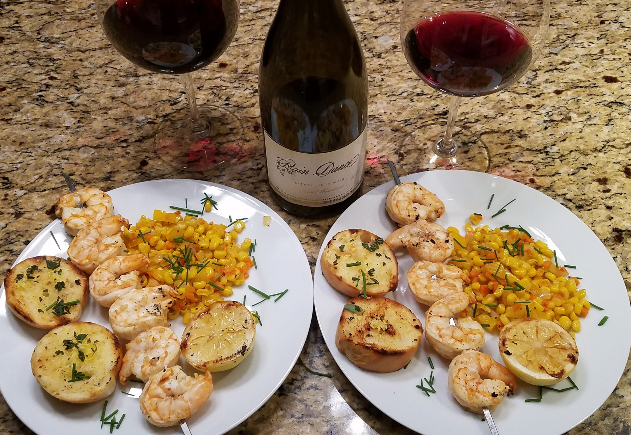 Spicy Shrimp with Sauteed Corn paired with Rain Dance Chehalem Mountains Pinot Noir