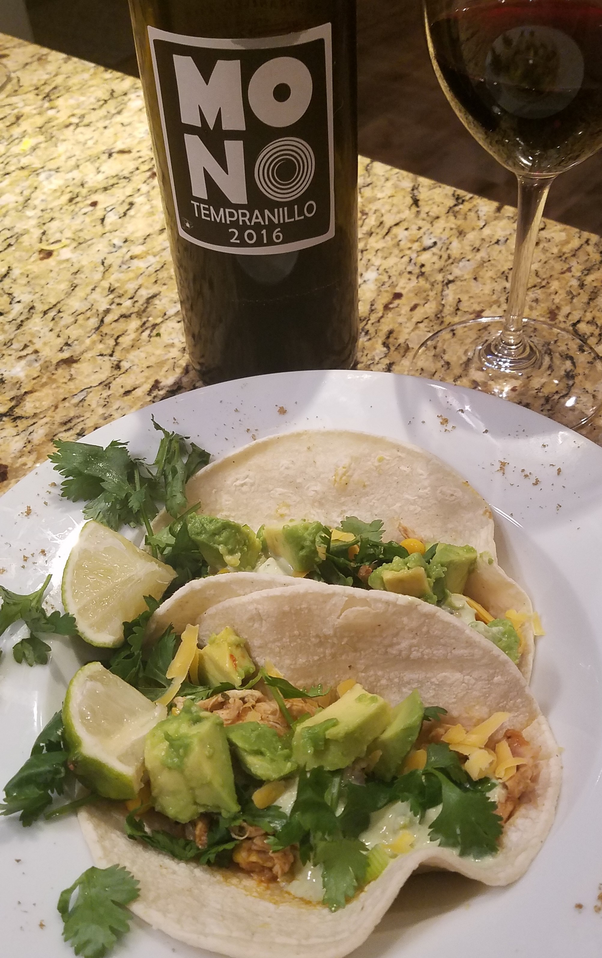 Shredded Chicken Street Tacos paired with Mono Tempranillo