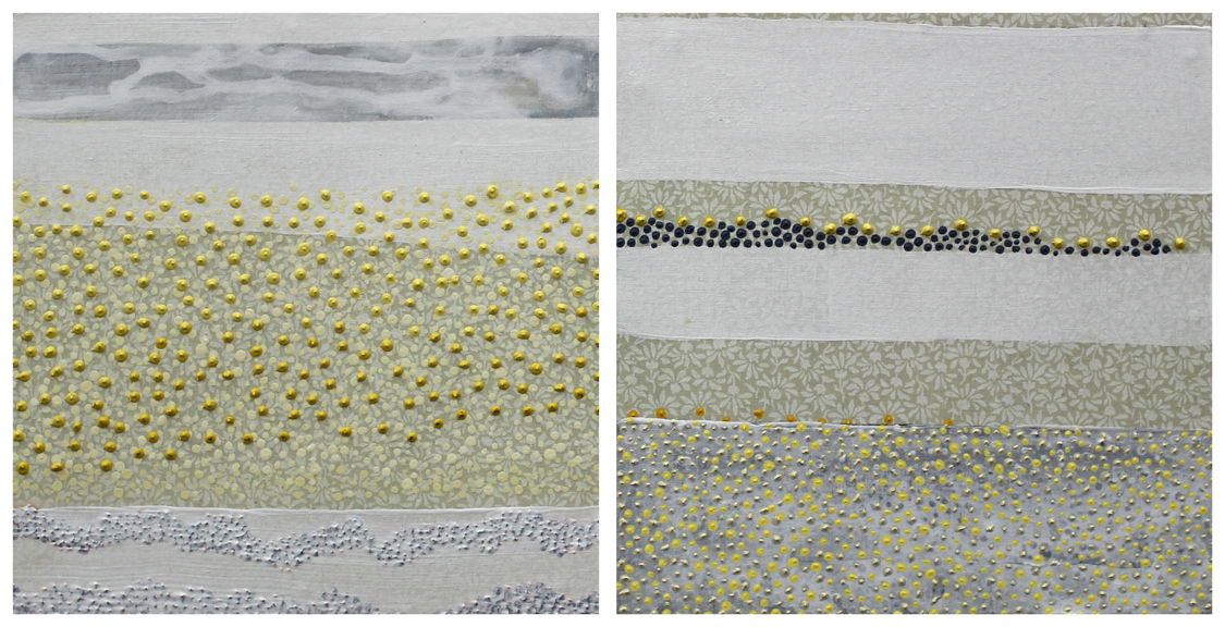 """For You / My Dear , 8 x 16"""", fabric and acrylic paint on two panels, 2013 (SOLD)"""