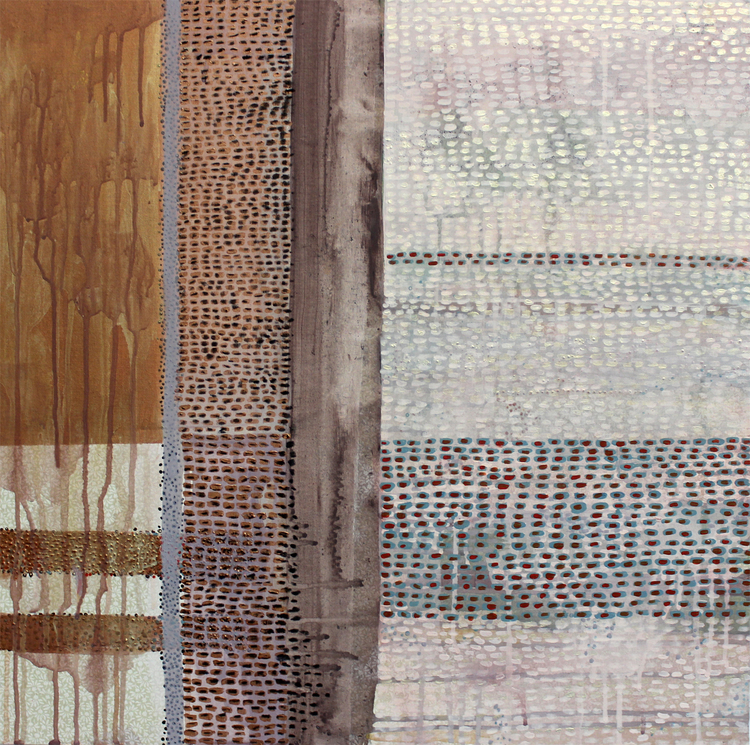 """361 Miles , 24 x 24"""", fabric and acrylic paint on panel, 2013 (SOLD)"""