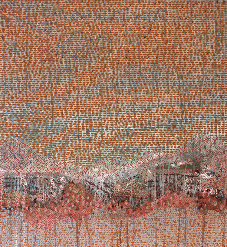 "Look Between The Rain, 26 x 24"", mixed media on panel, 2014 (SOLD)"