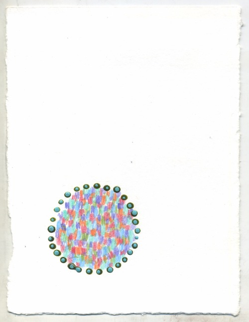 "Untitled ,  6 x 4.5"", acrylic paint and colored pencil on paper, 2016"