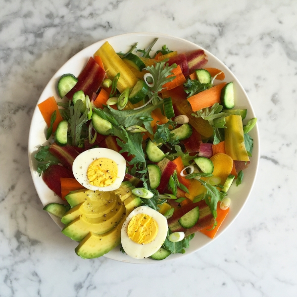 Rainbow Carrots Salad - shaved carrots, cucumbers, green onions, avocado, egg, greens