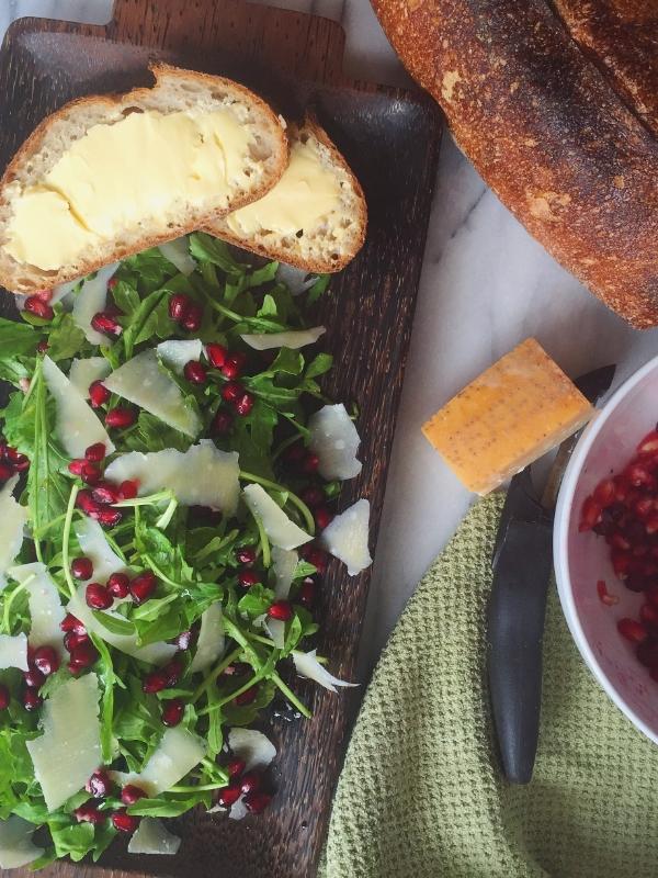 Pomegranate Arugula Salad with Artisan Bread