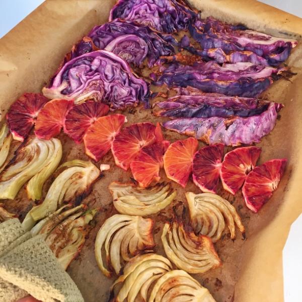 Roasted Red Cabbage, Fennel, & Blood Orange Salad