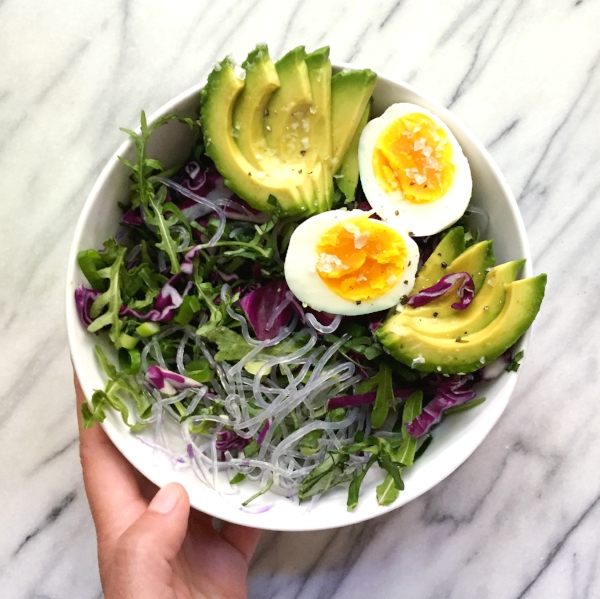 Simple nutritious salad with soft boiled eggs