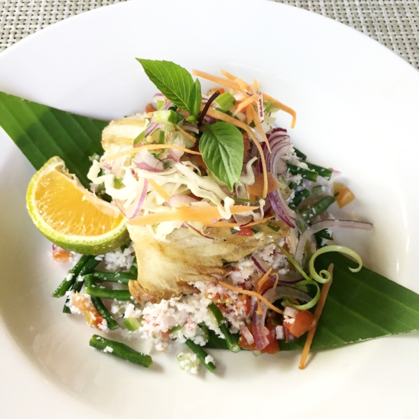 Coconut Salad and catch of the day