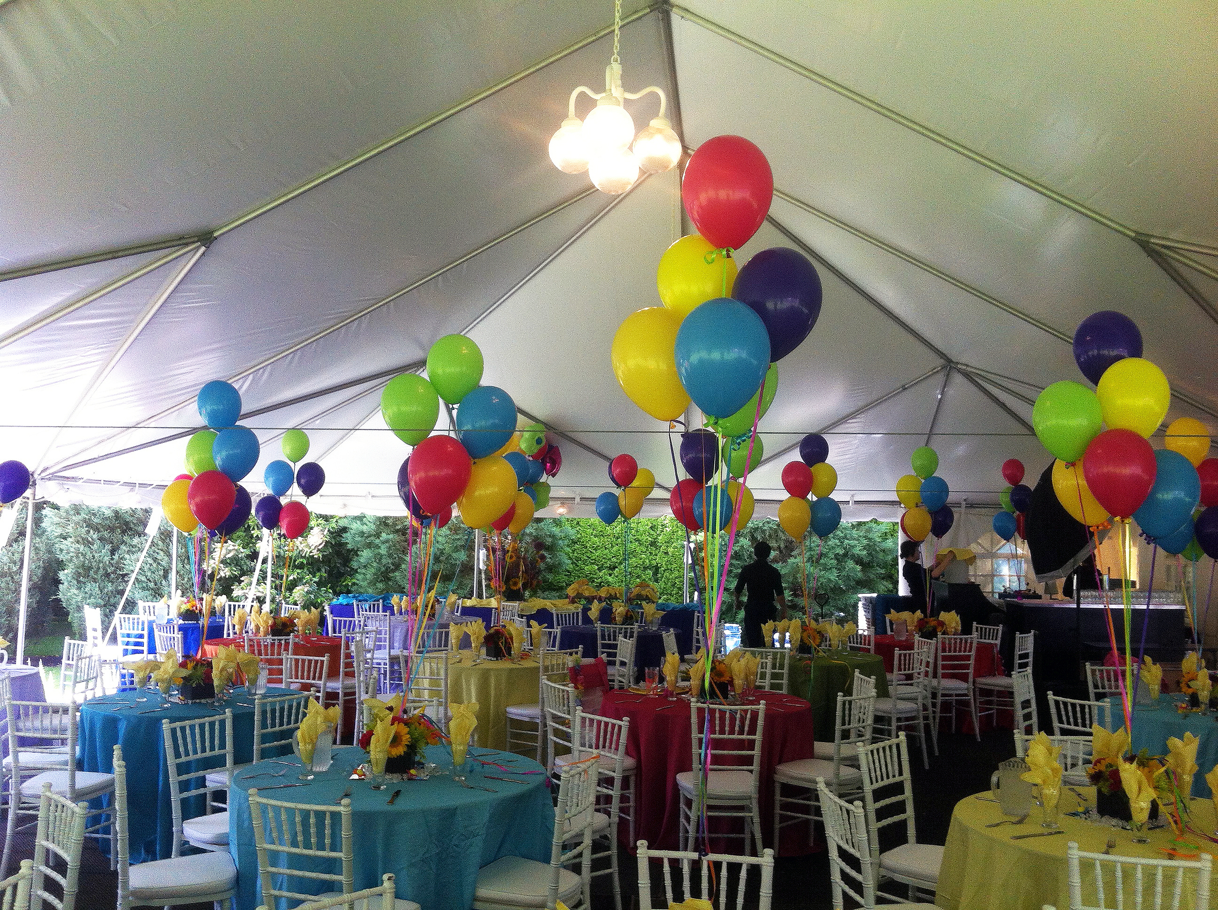 (Bouquets of five 11' balloons, weighted = $13.50)