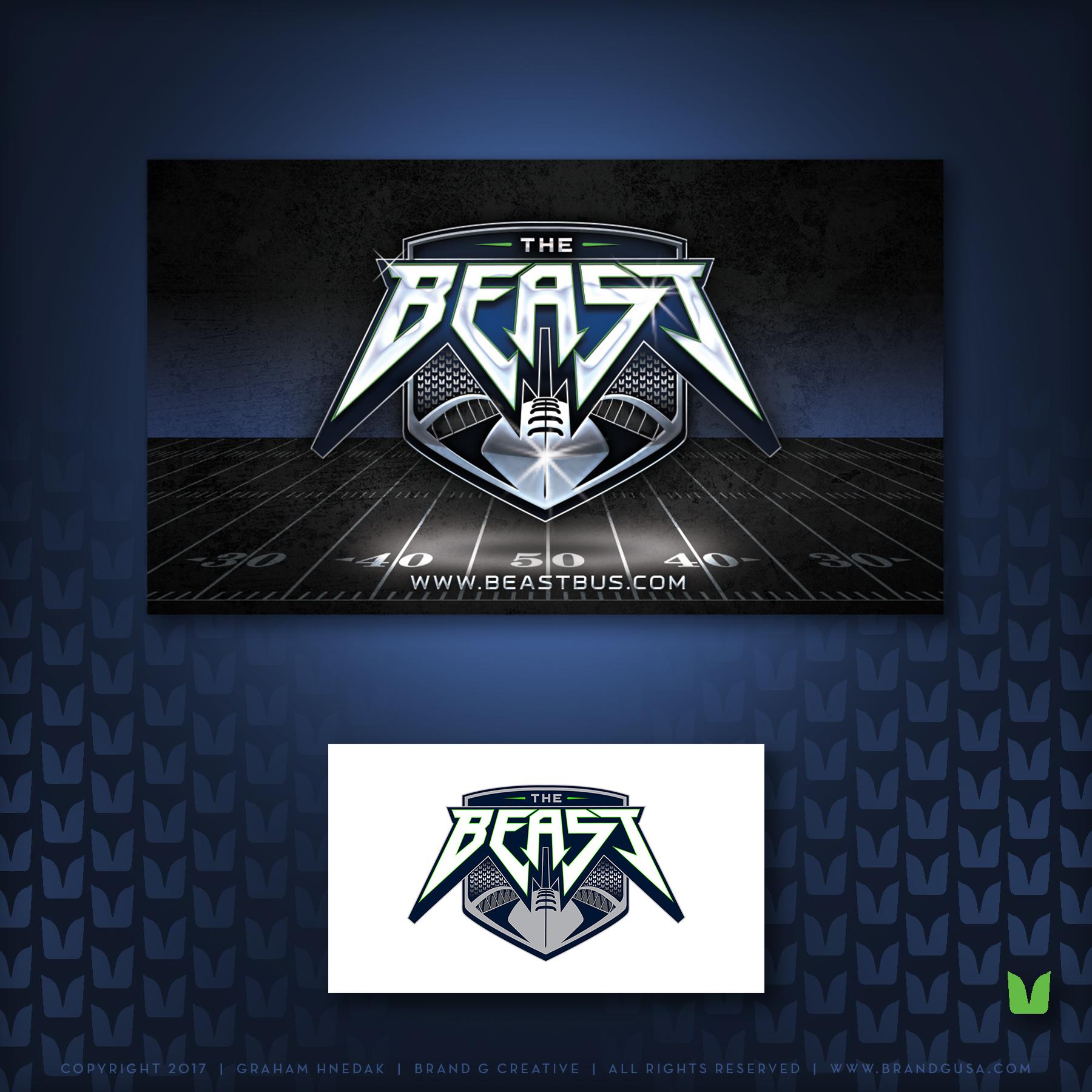 Beast Bus Logo Enhancement from Flat - Business Card Back Shown