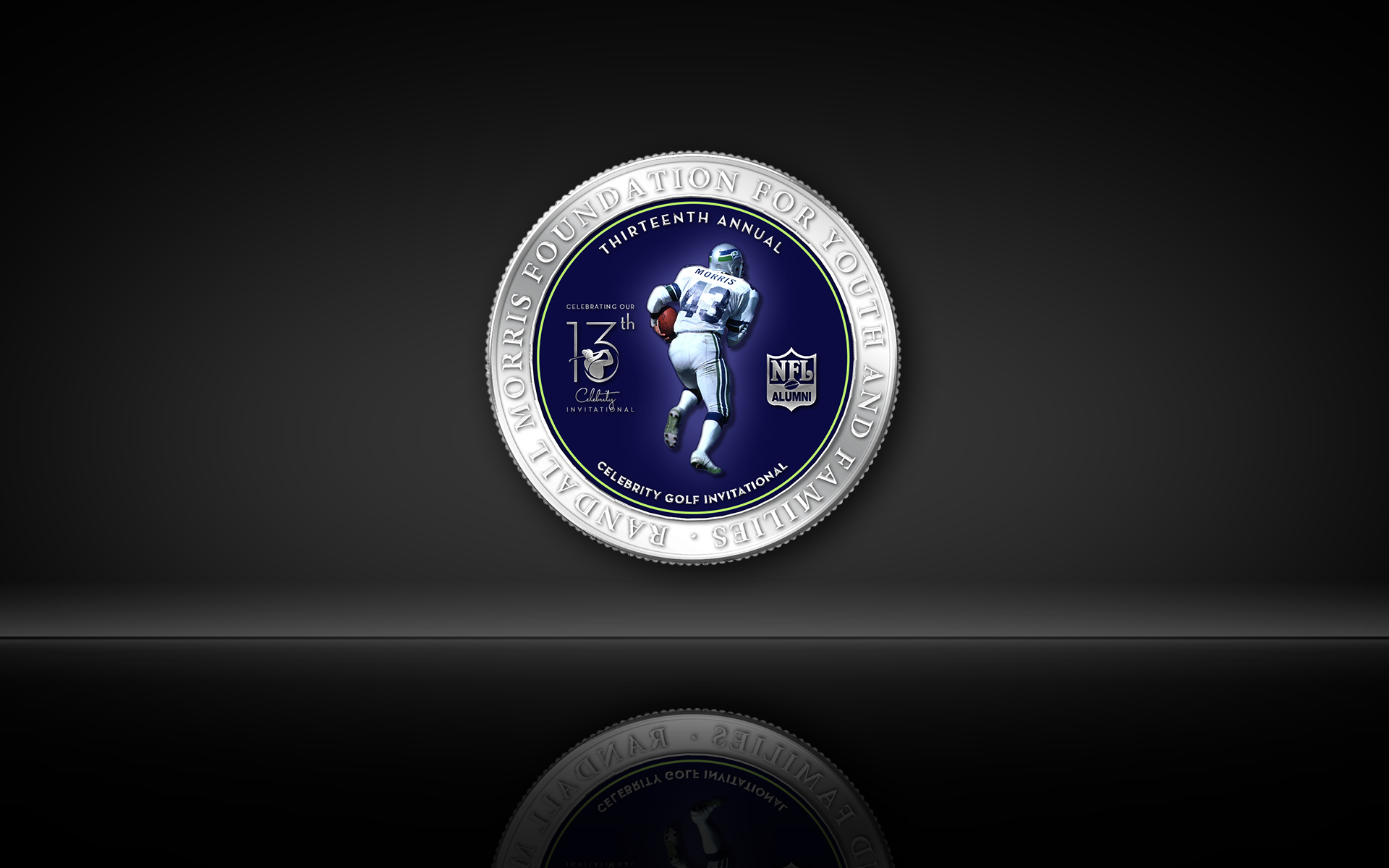 Randall Morris Foundation for Youth and Families Annual Celebrity Golf Event NFL Logo Medallion Coin Logo by Graham Hnedak Brand G Creative 18 June 2019.jpg