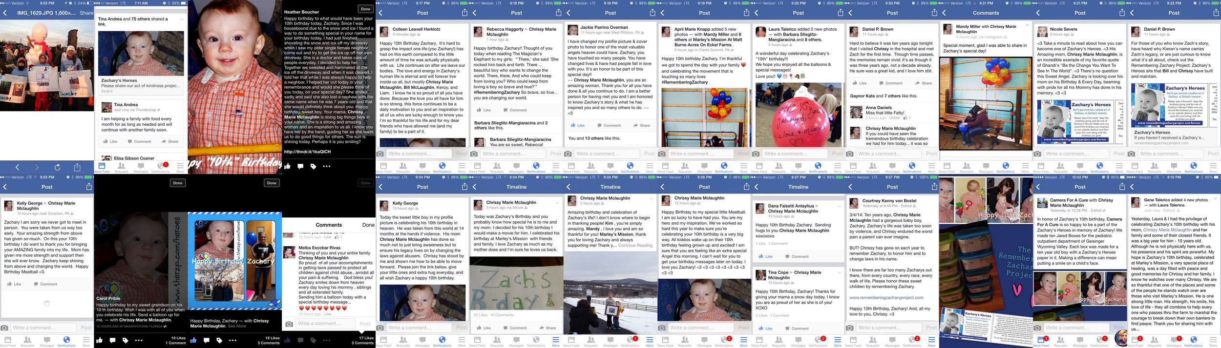 A variety of messages and posts I received on Zachary's birthday. Means more than I can say. <3
