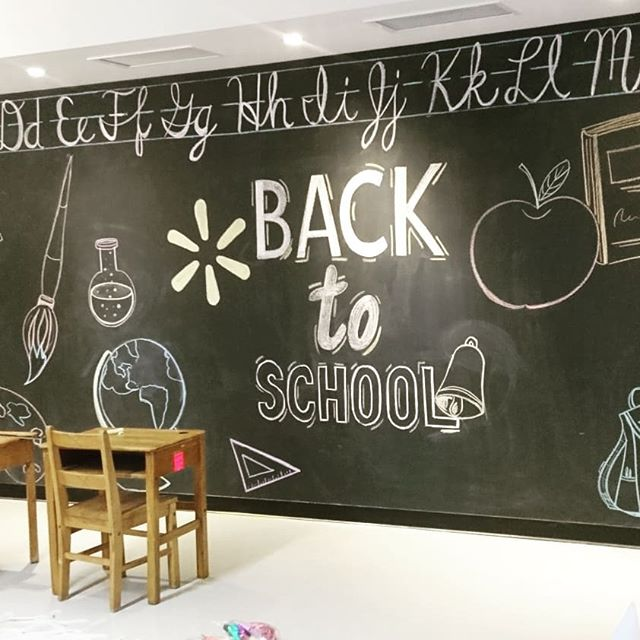 A couple of weeks ago I did this Chalkboard mural for @apexpr #walmartcanada #wallart #mural #chalkboard #chalkboardartist #backtoschool #alphabetical #handwriting #typography #chalk #lockers #quickmaths #pr #apexpr #walmartpreview