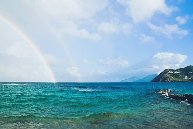 After the storm comes a rainbow, sometimes two  #doublerainbow #alltheway #acrossthesky #stkittsandnevis #rainyday #afterthestorm