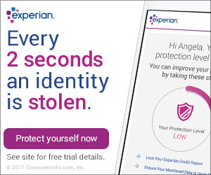 Experian Credit Report Offer for our App Users - Every 2 seconds an identity is stolen. Start free for 30 days, see site for free trial details.