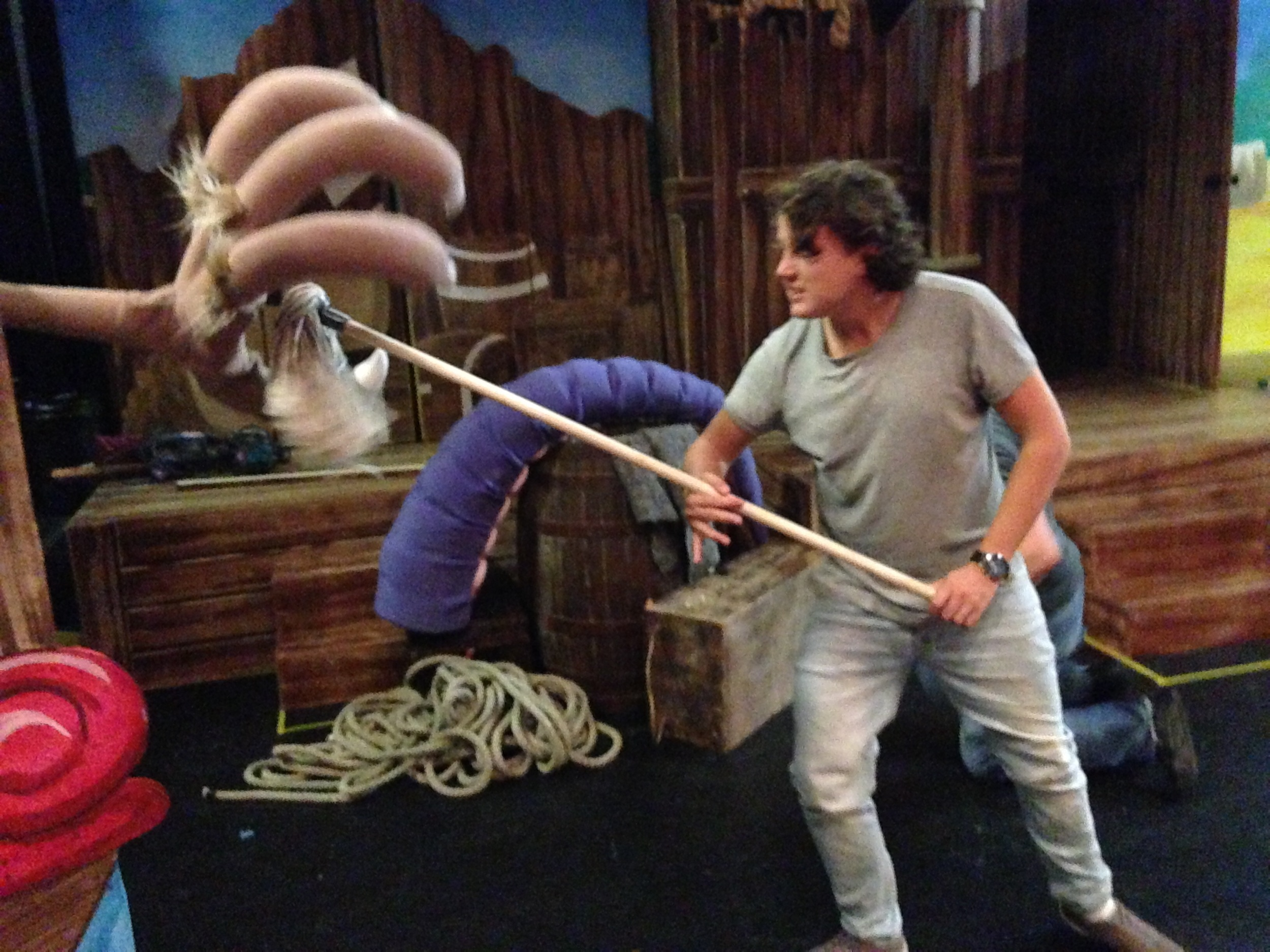 "Actor Toby Vaughan practices fending off ""something FIERCE and FAST"""