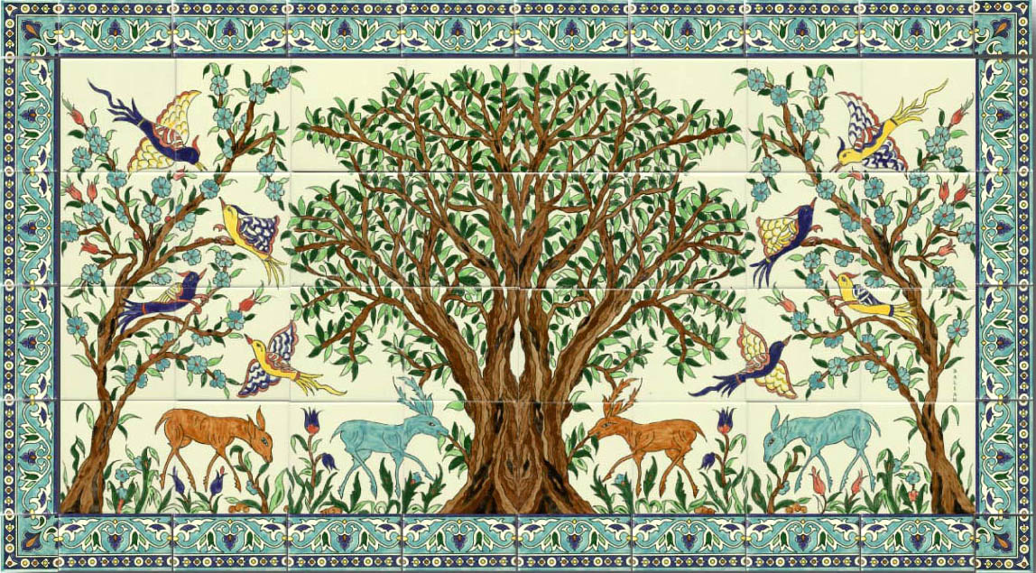 It's real life for Jews and Palestinians in the Mideast and Diaspora, to share a certain symbolic life.  A mosaic of tiles with an olive tree in an obviously bio-dynamic garden. So when do we plant Eden?
