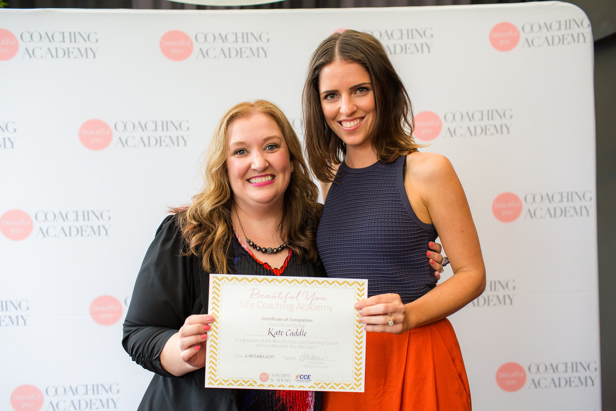 ACCEPTING MY QUALIFICATION FROM CEO & FOUNDER OF BEAUTIFUL YOU COACHING ACADEMY, JULIE PARKER, NOVEMBER 2015.