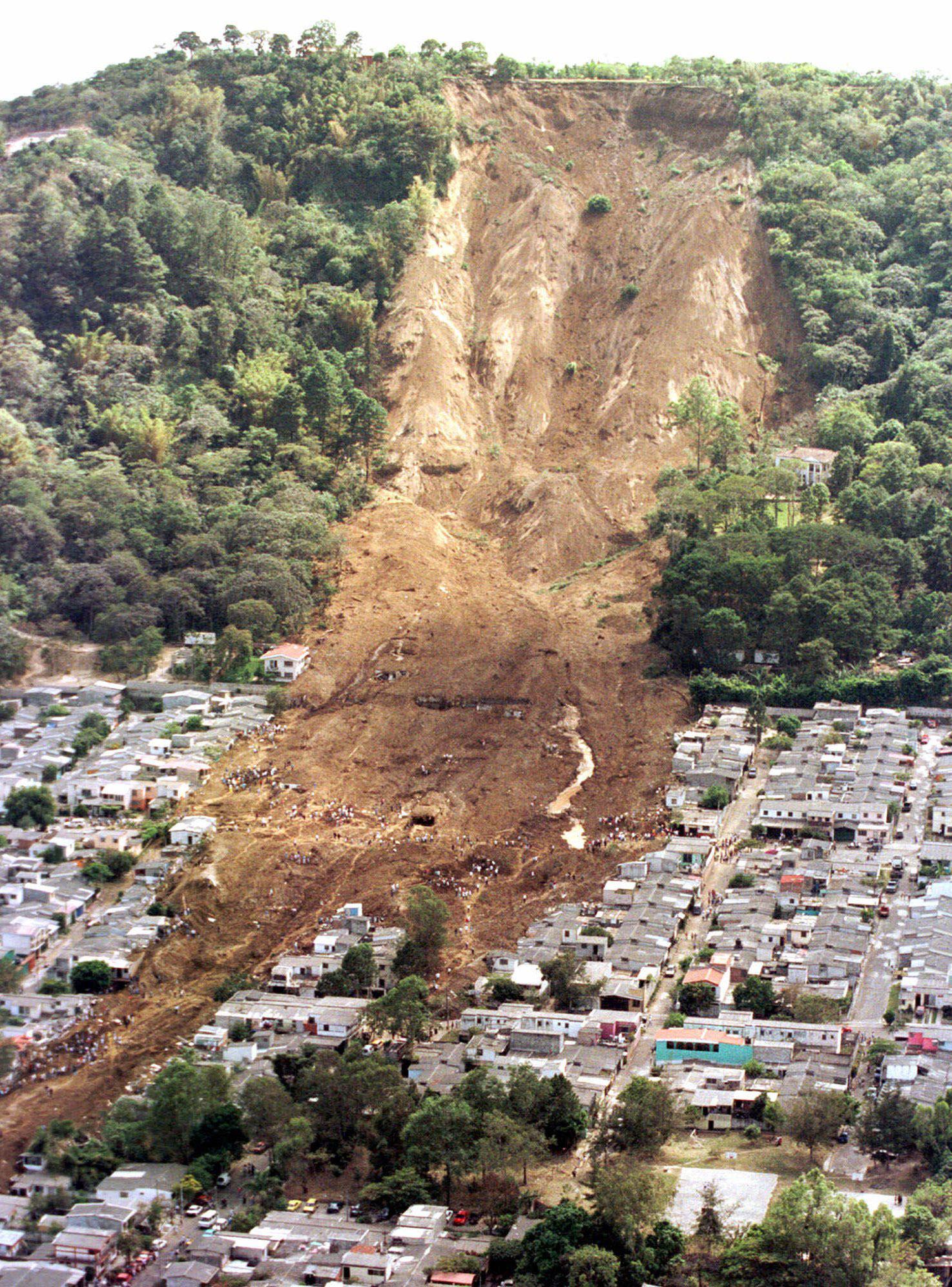 Destruction from a landslide in El Salvador