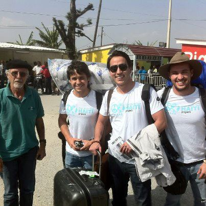 Mike Bonderer welcomes Brazilians (from left) Rafael Matheus, Dr Fernando Mariotto, and Bruno Gomes to Haiti.