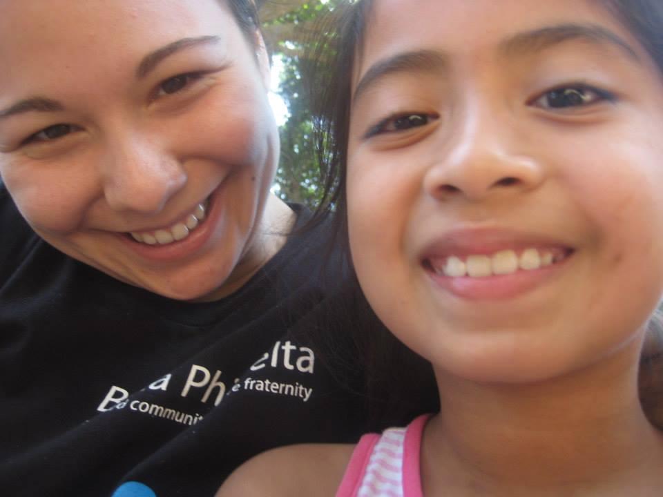 Allyson and one of the village children in Chiltiupán, El Salvador.