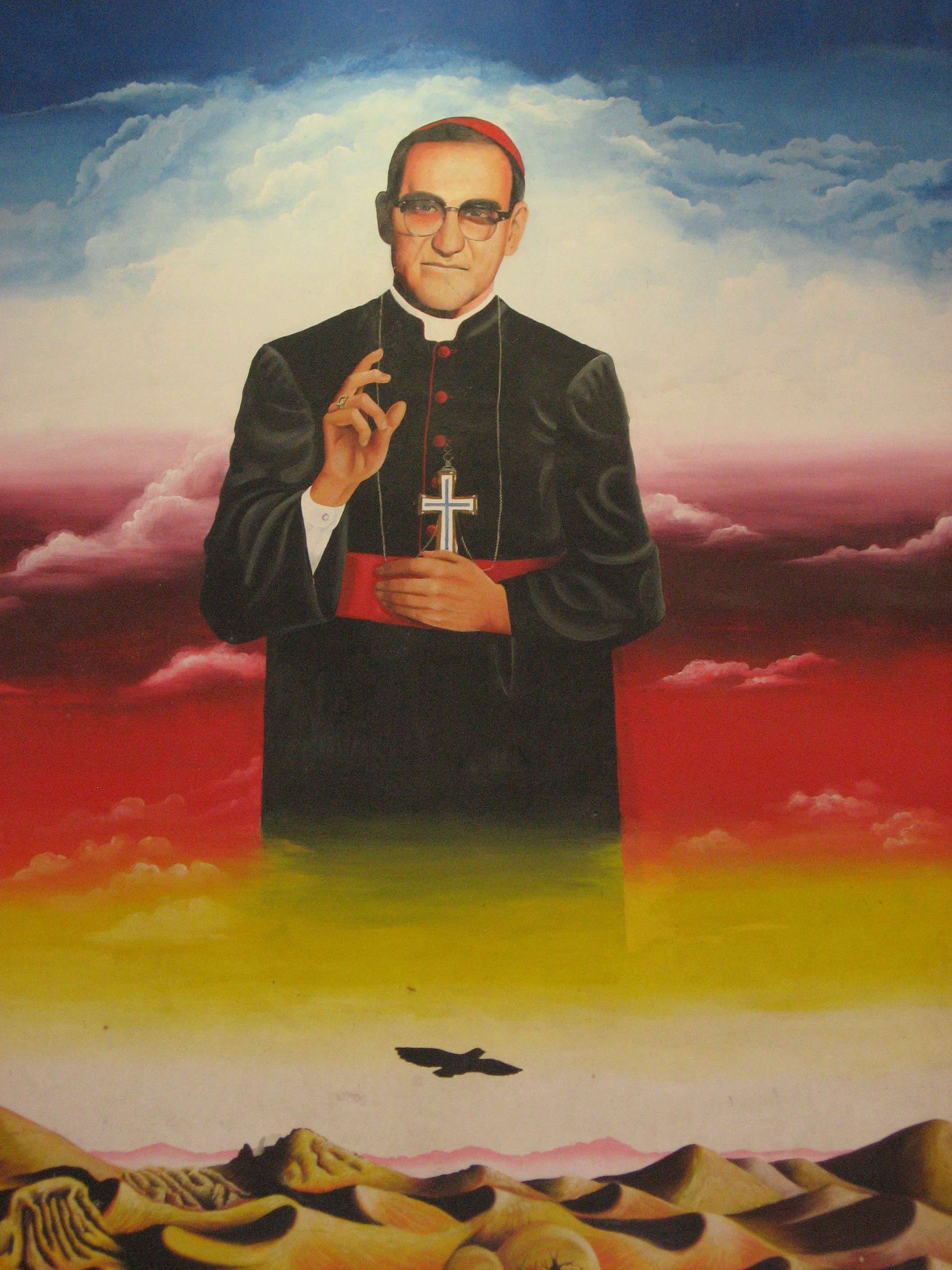 A mural of Archbishop Romero at the University of El Salvador. (Photo credit:  Pedro Nonualco )