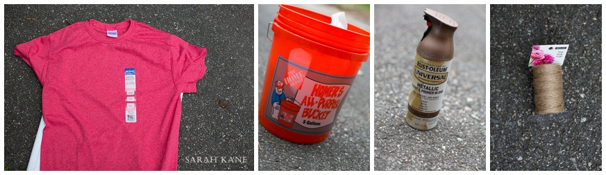 T shirt - $3, HD Bucket - $2.97, Spray Paint - $6.98, Twine - $6.36 A total of $20.33 with tax!