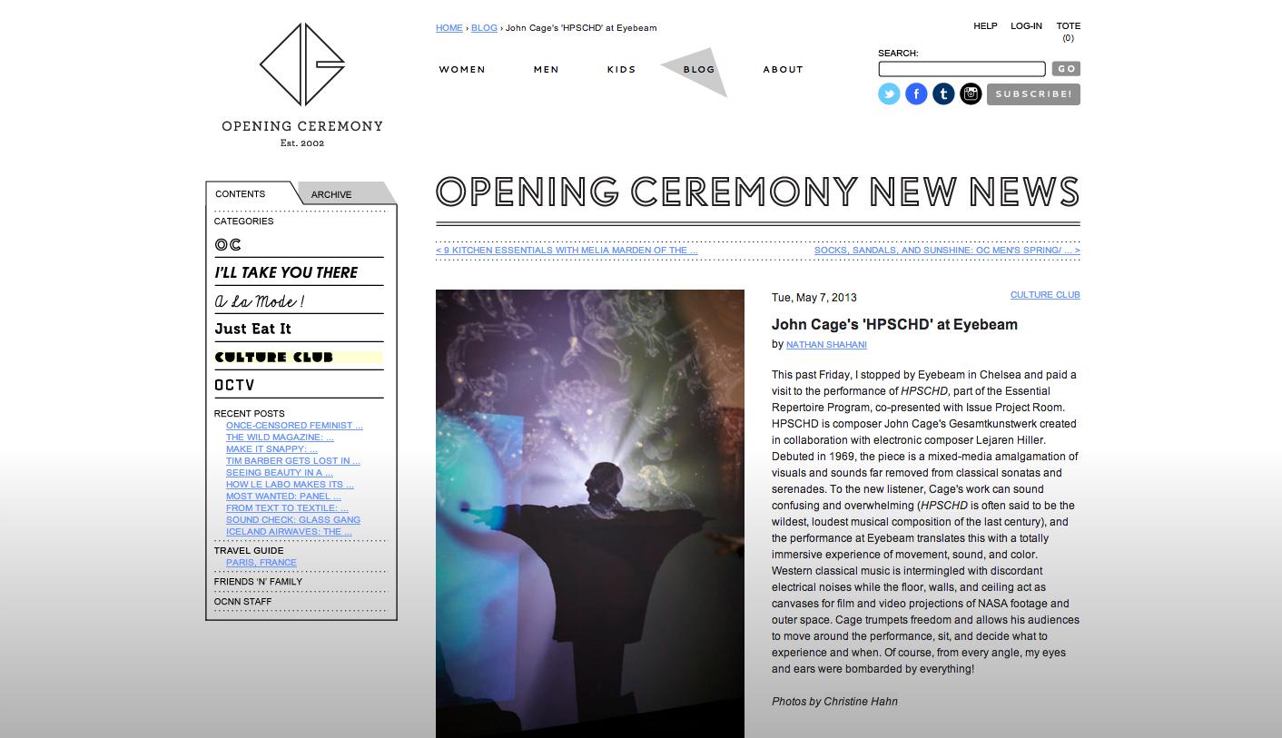 Opening Ceremony Blog