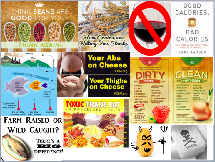 Every 'diet' has its villain or group of foods that you are not allowed to eat.   Apparently beans, grains, red wine, fish, cheese, conventional fruits and vegetables, trans fat, potatoes, sugar (especially sugar-sweetened beverages) are all things that should be off-limits.   I do not agree!