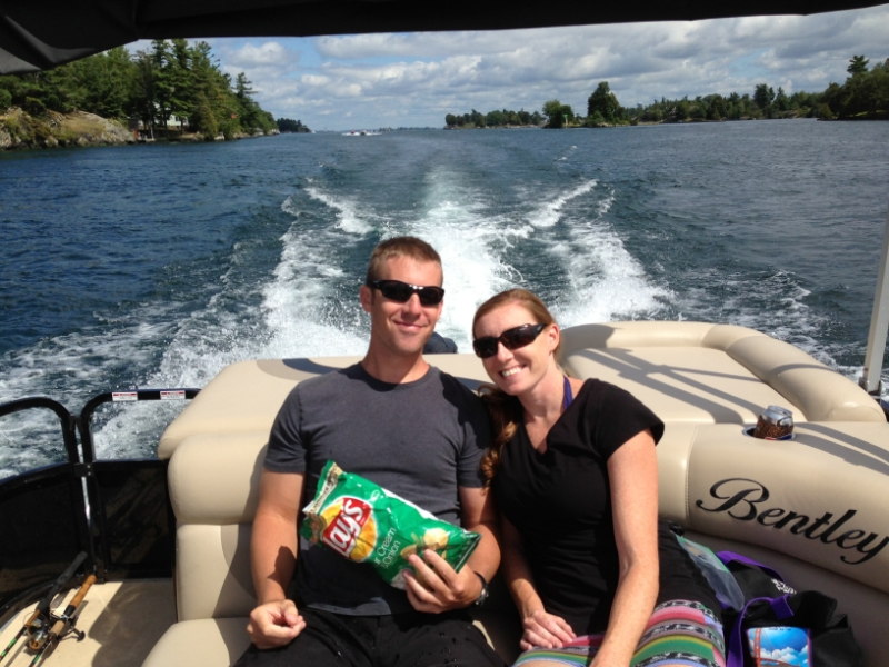 Todd and Kathleen in Thousand Islands New York enjoying the beautiful water and some Lays Sour Cream and Onion Chips