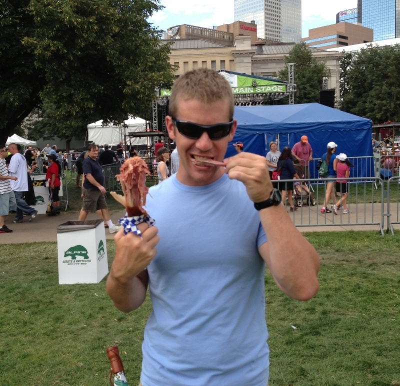 Todd enjoying a turkey drumstick at the Taste of Colorado Festival in Denver, CO.