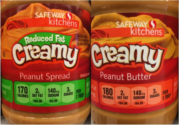 Reduced fat peanut butter contains 170 calories; full fat peanut butter contains 180 calories.  You do the math, it's not worth it.