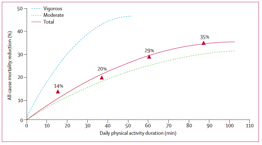 Daily physical activity duration and all-cause mortality reduction