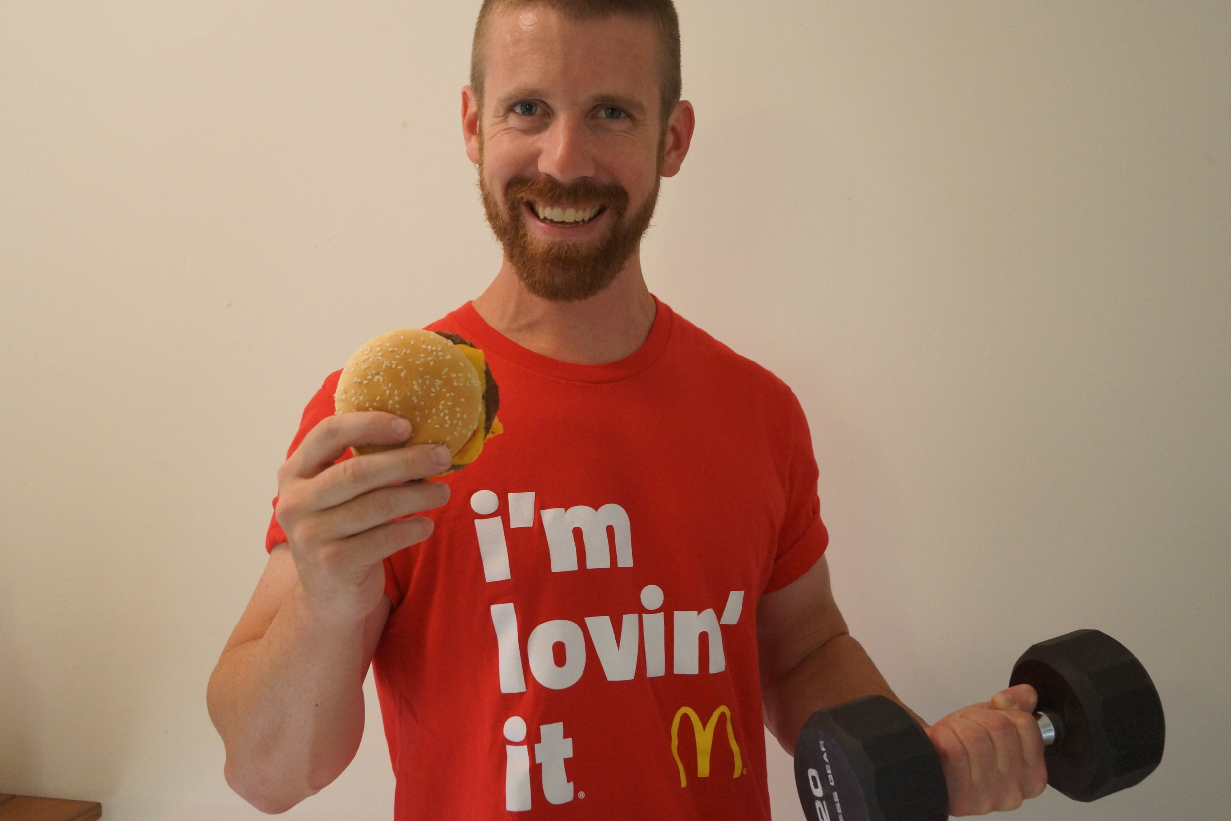 McDonalds Cheeseburger I'm Loving It and Exercise