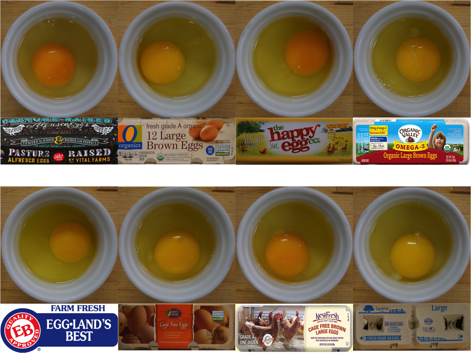 NestFresh, Lucerne, Open Nature Cage Free, the Happy Egg Co., Eggland's Best, O Organics, Organic Valley Omega-3, and Alfresco Pasture Raised Eggs by Vital Farms and egg yolk color