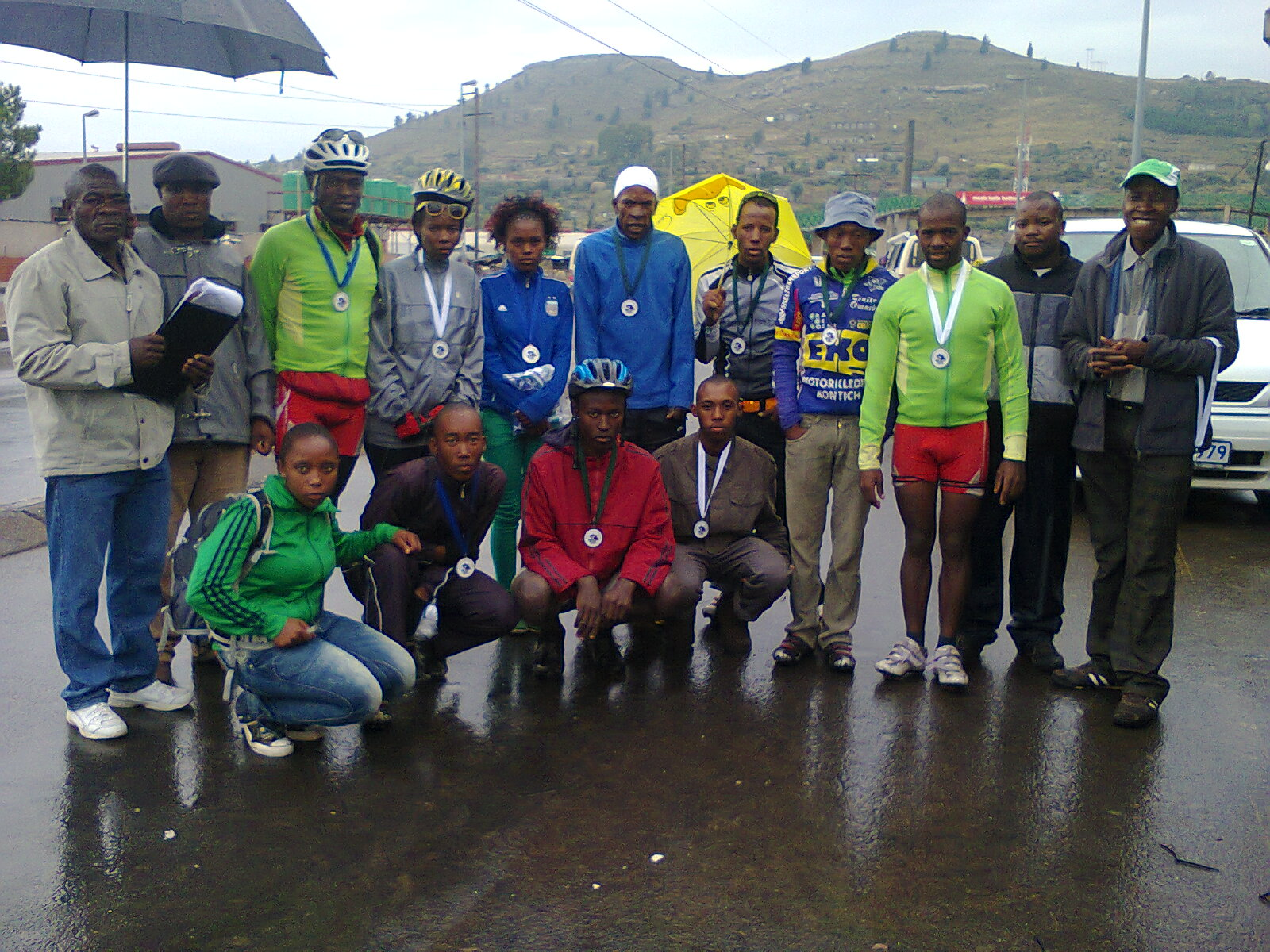 The medalists and officials.