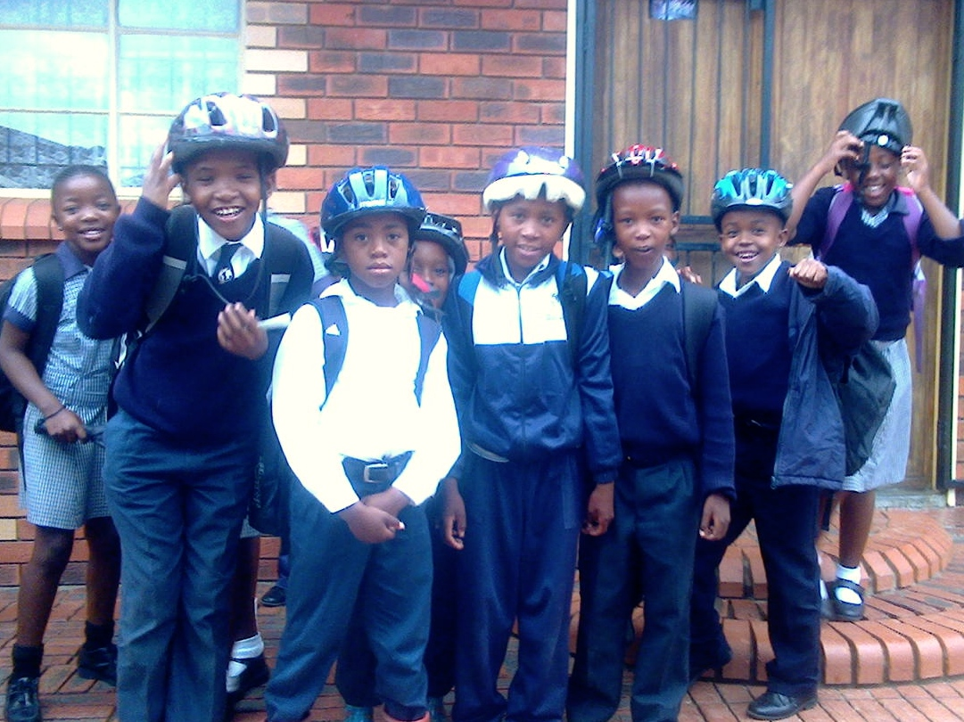 These kids received donated bikes from Jeff and Dave's 1st container, and on this trip, they received their new helmets.  (They still need some instruction on proper use...)
