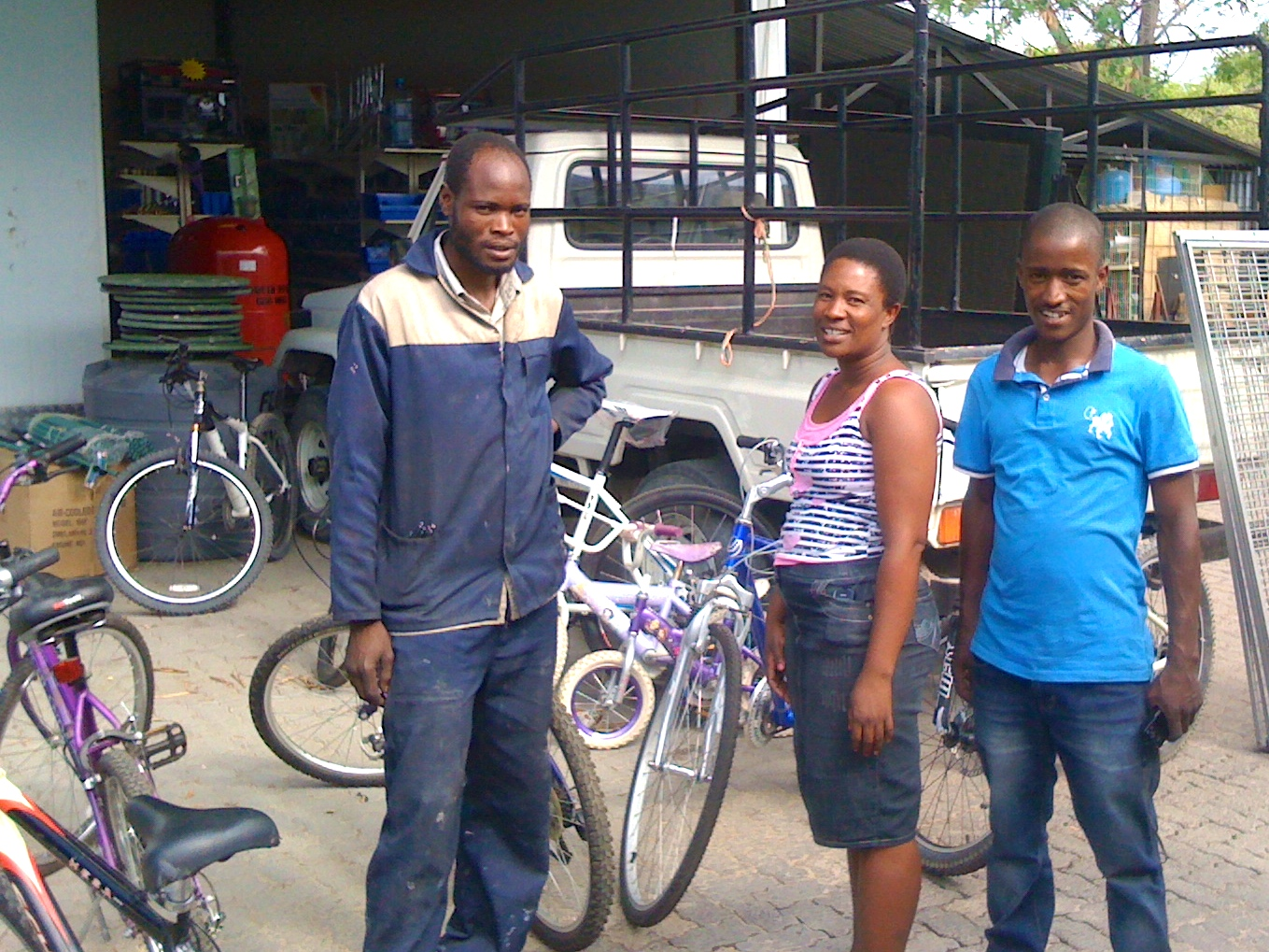 Hamo, Sparks and Girlie at the Bike Shop Maun.