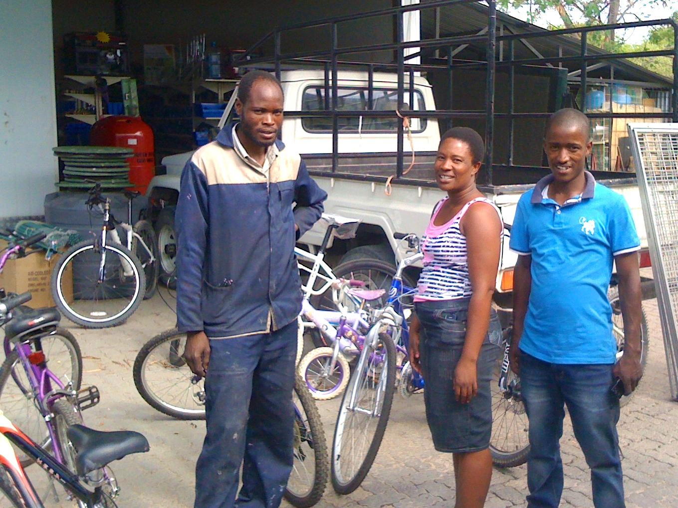 Hamo, Sparks and Girlie at the Bike Shop Maun.