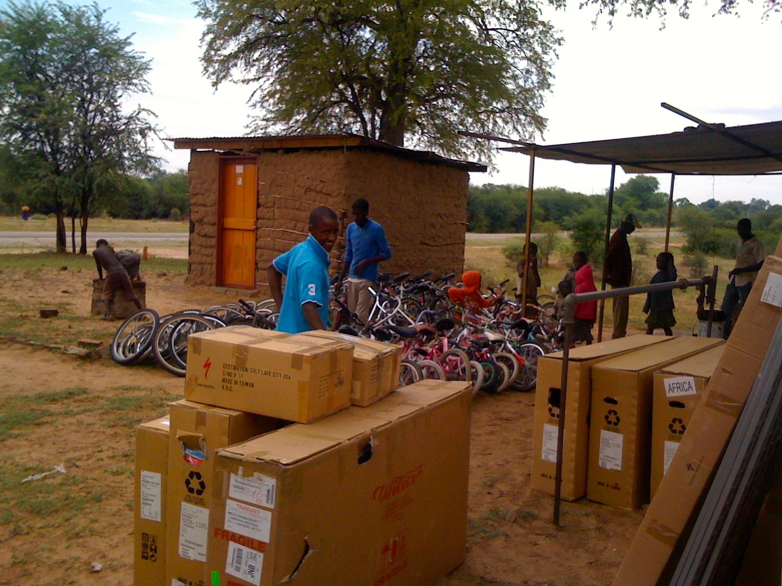 Unloading accessories at Meketo.