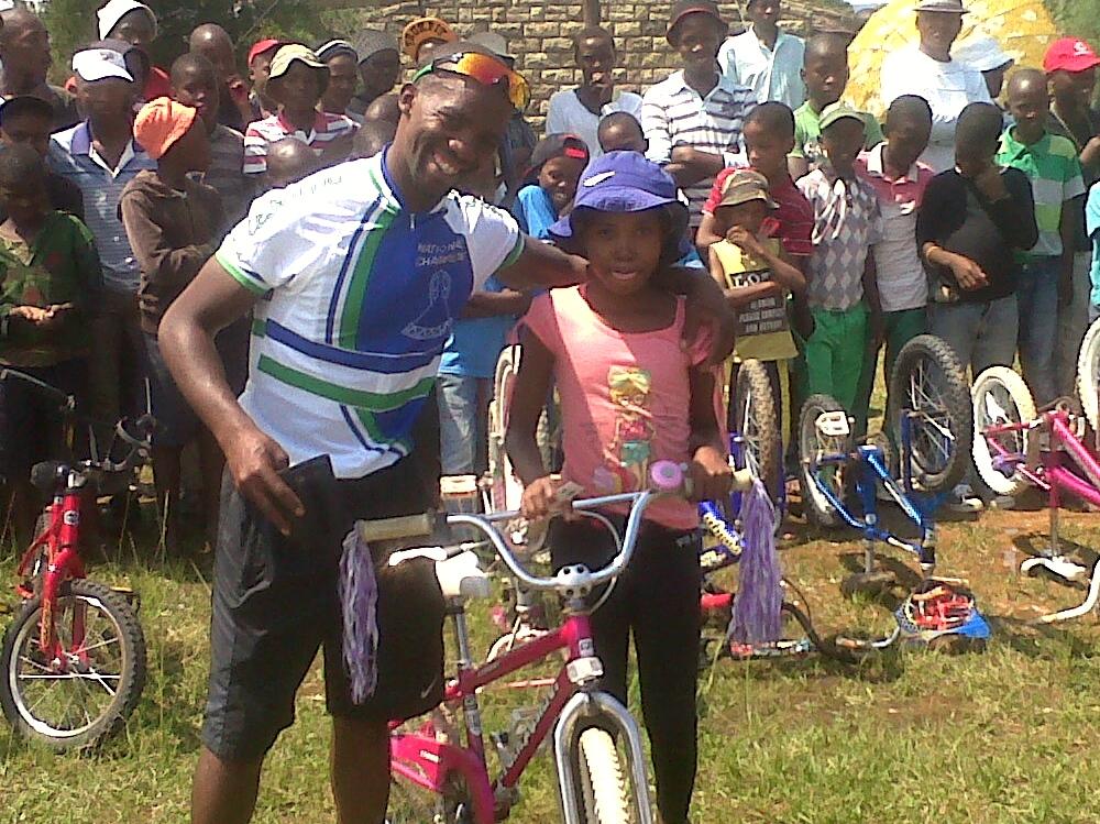 Tumi and a happy new bike owner.