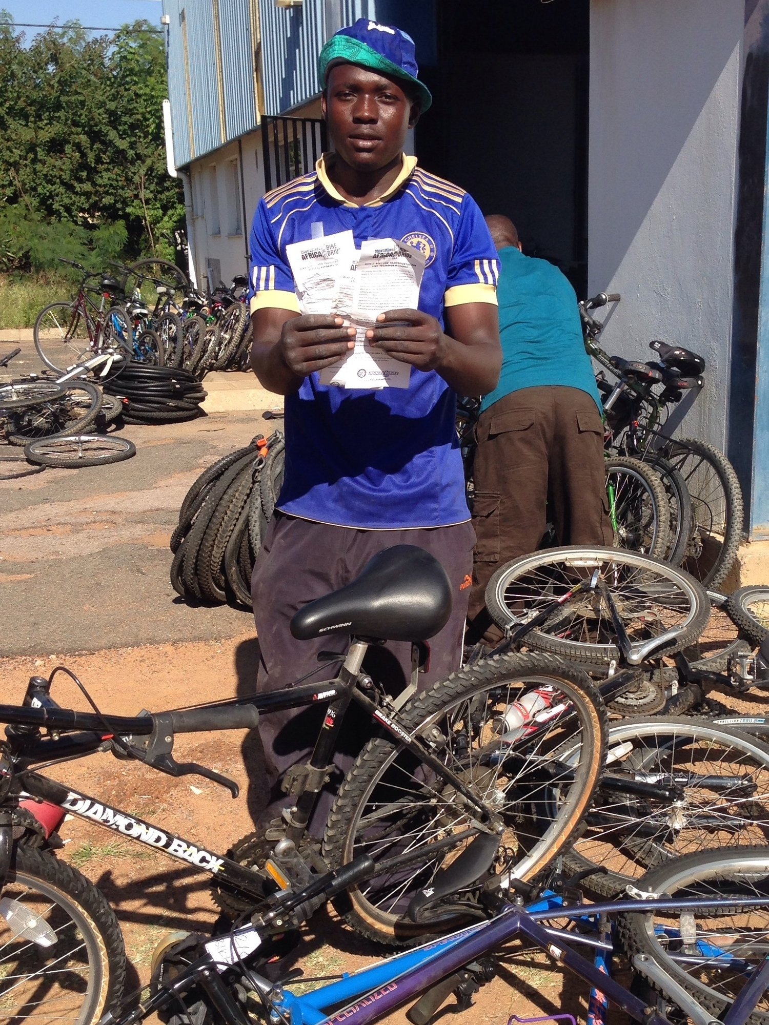 Refine with his new stock and slips from our bike donors in California.