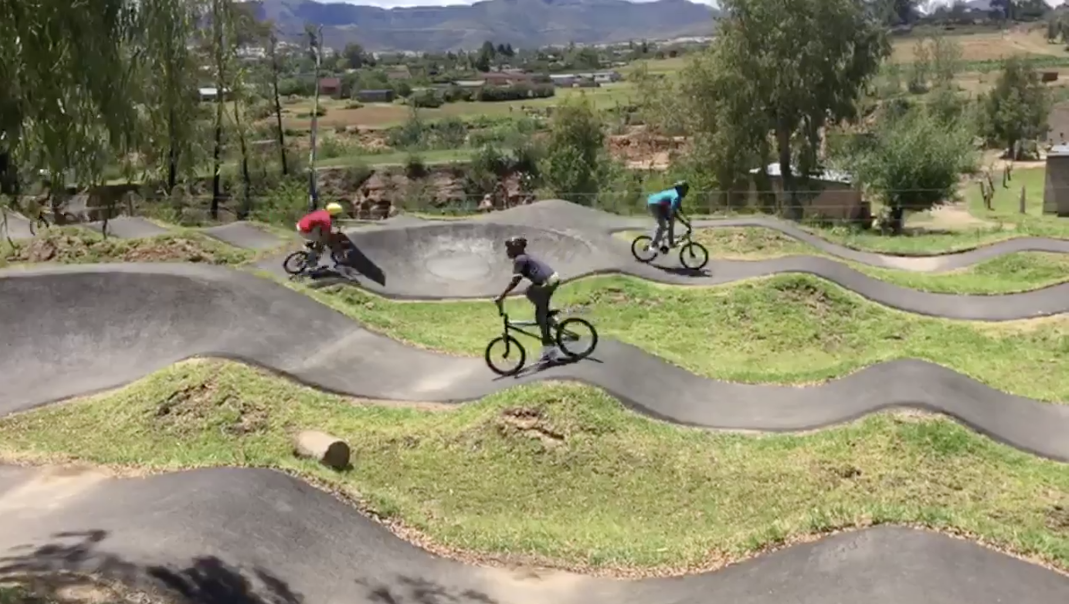 GETTING PUMPED - Kids keep busy at the pump track in Roma, set up by the local Mike's Bikes Sister Shop.