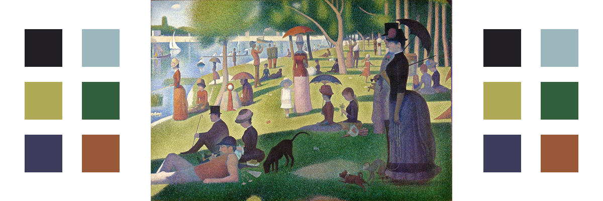 The painting A Sunday Afternoon on the Island of La Grande Jatte with related color palette