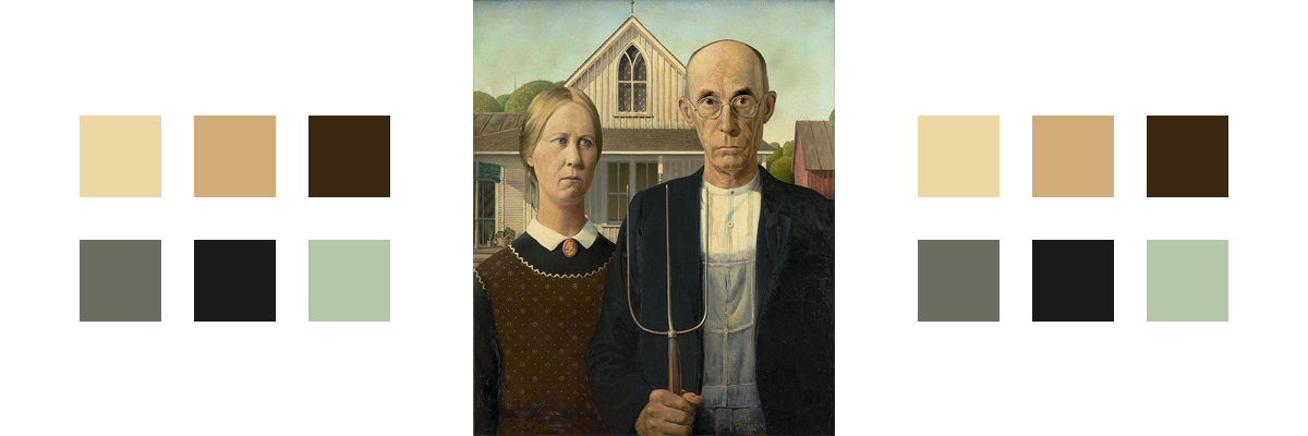 The painting American Gothic with related color palette