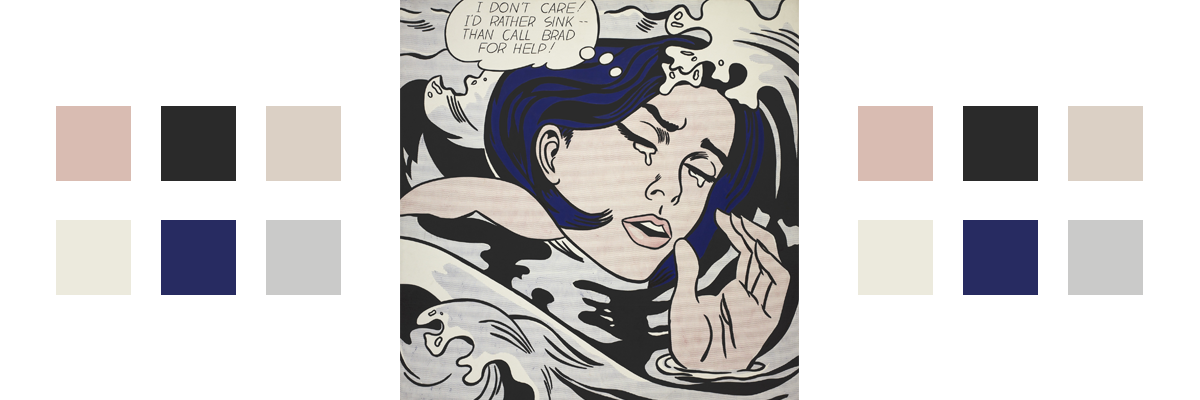 The painting Drowning Girl with related color palette