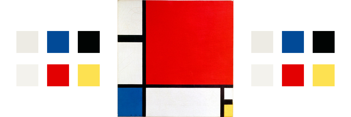 The painting Composition II in Red, Blue, and Yellow with related color palette