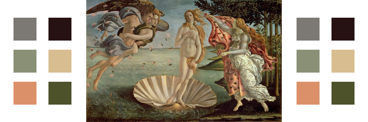 The painting The Birth of Venus with related color palette
