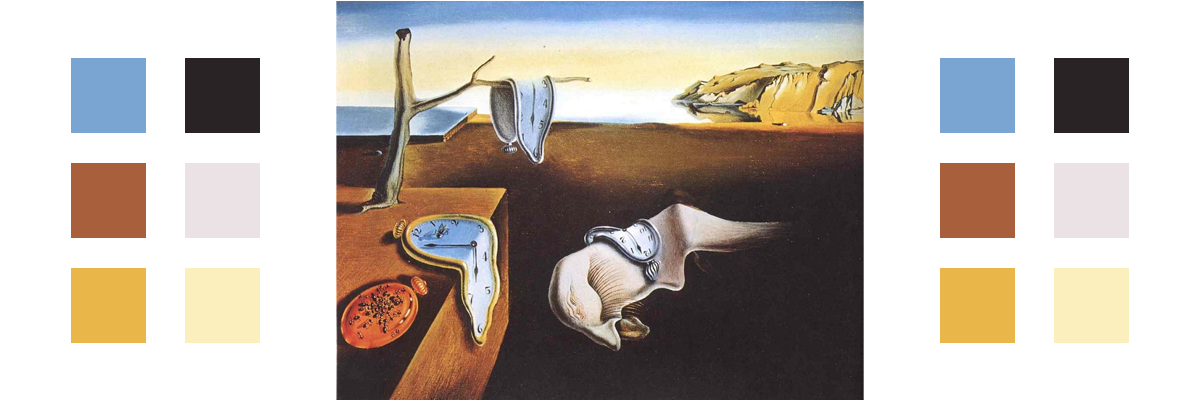 The painting The Persistence of Memory with related color palette
