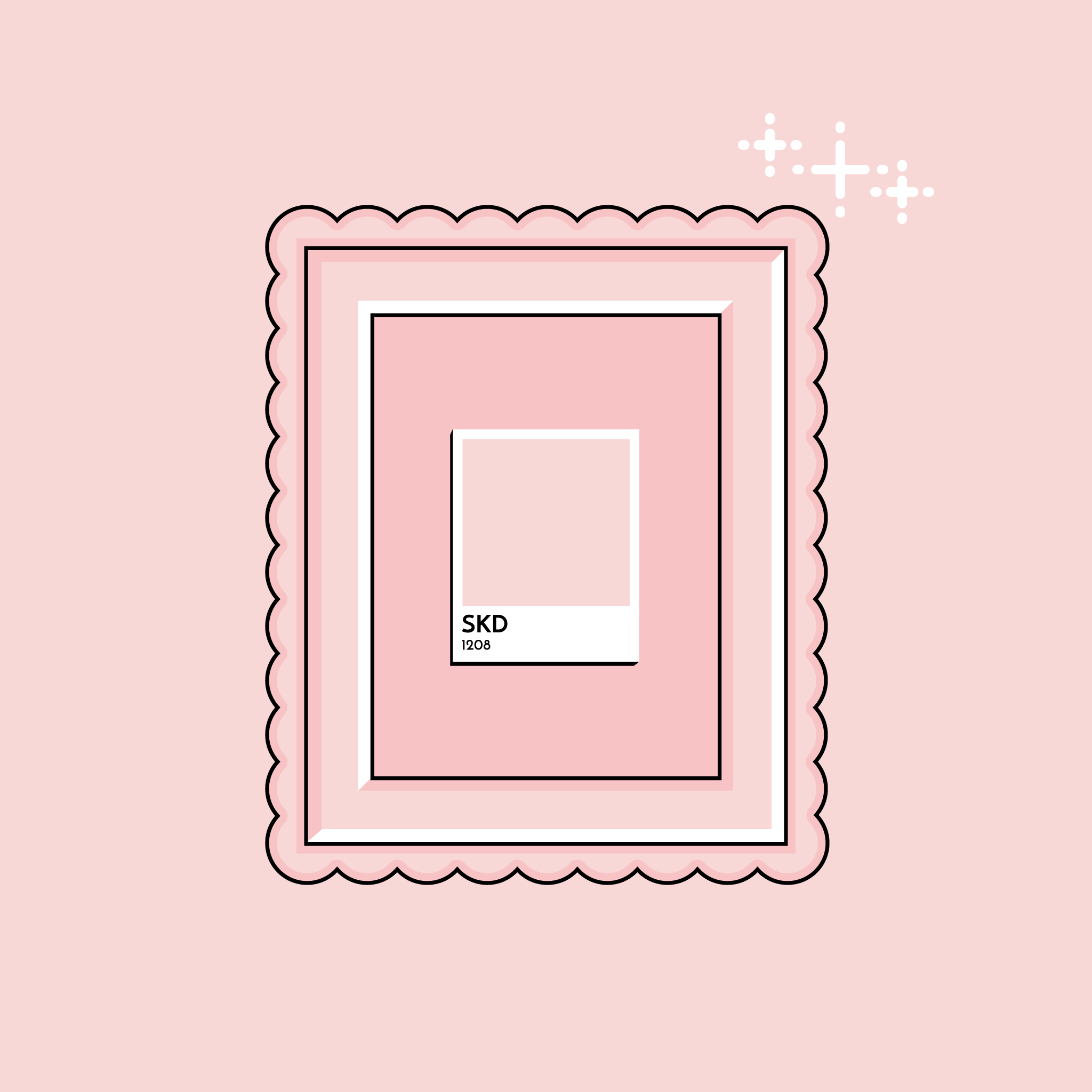 illustration of a color swatch in a fancy frame